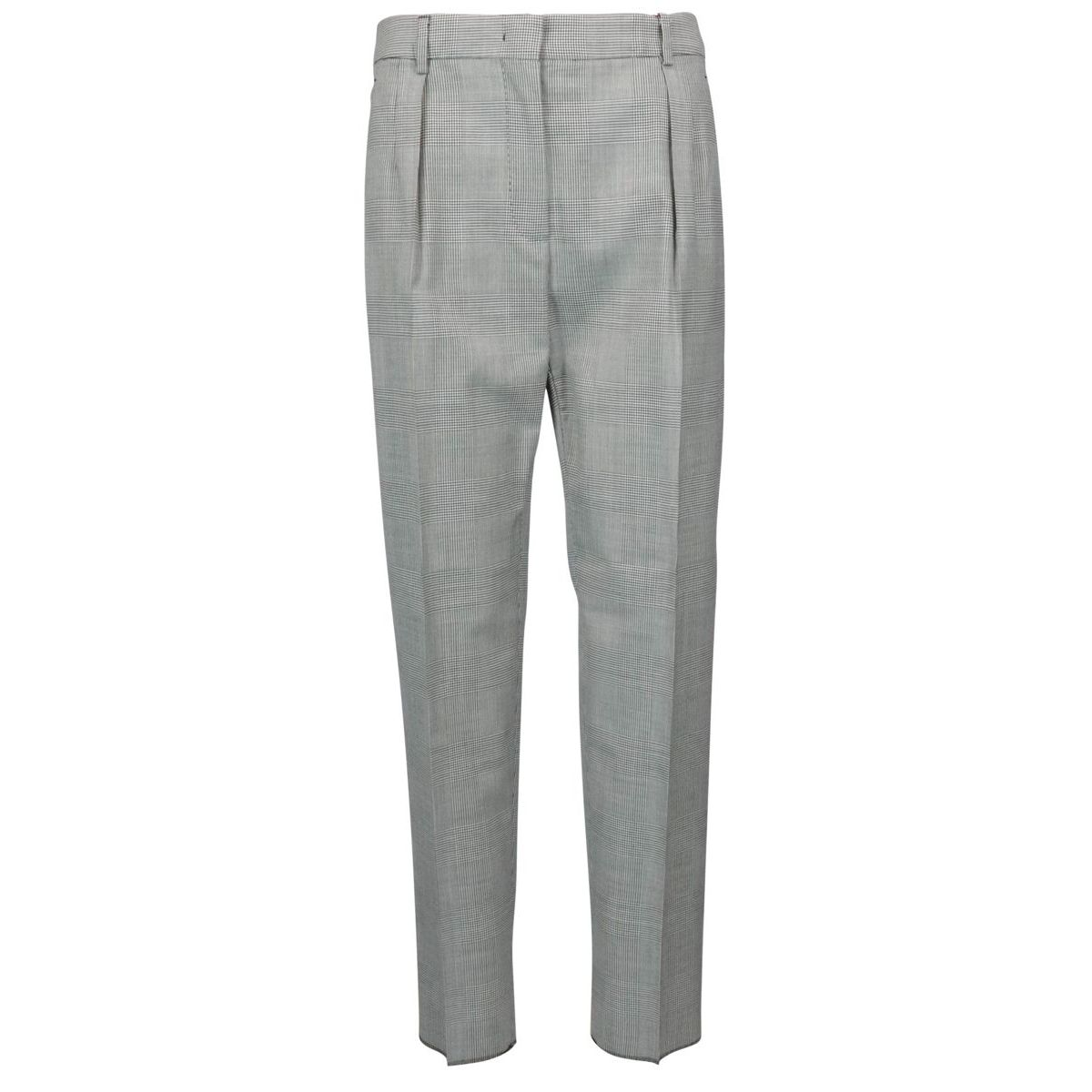 Lyon wool trousers with Prince of Wales pattern White black MAX MARA STUDIO