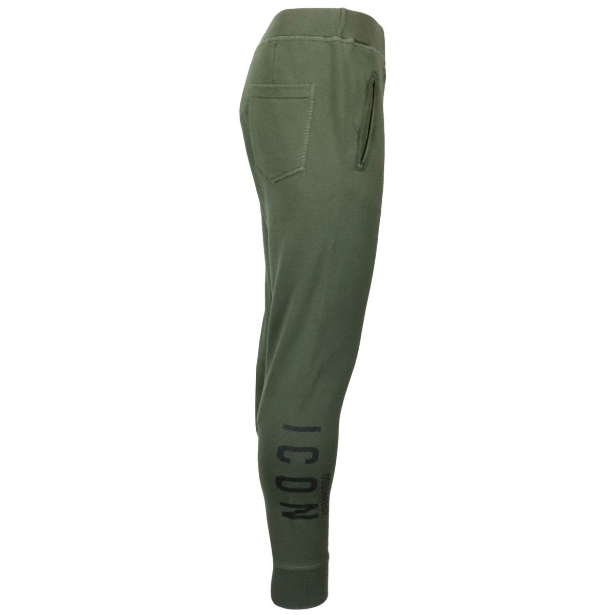 Cotton sports trousers with side Icon print Military Dsquared2