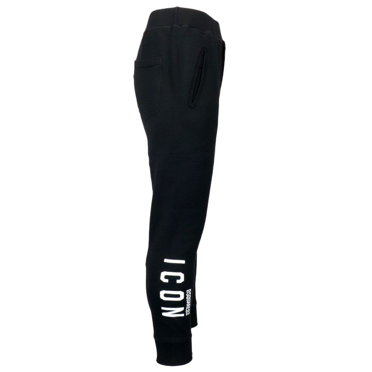 Cotton sports trousers with side Icon print Black Dsquared2