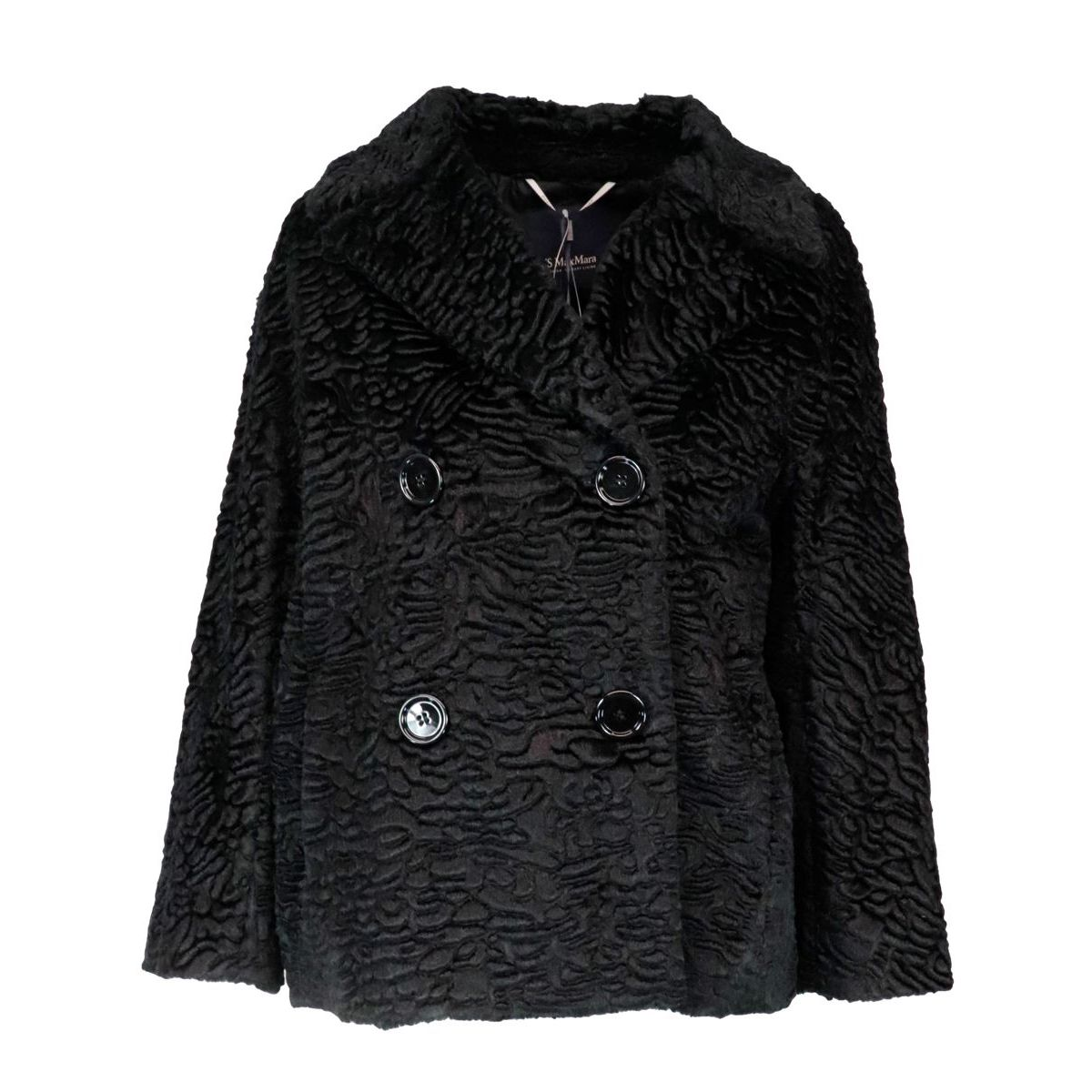 Calcut double-breasted jacket in astrakhan effect faux fur Black S MAX MARA