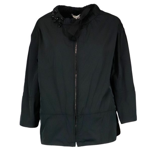 Cape zip jacket in nylon with bead detail Black S MAX MARA