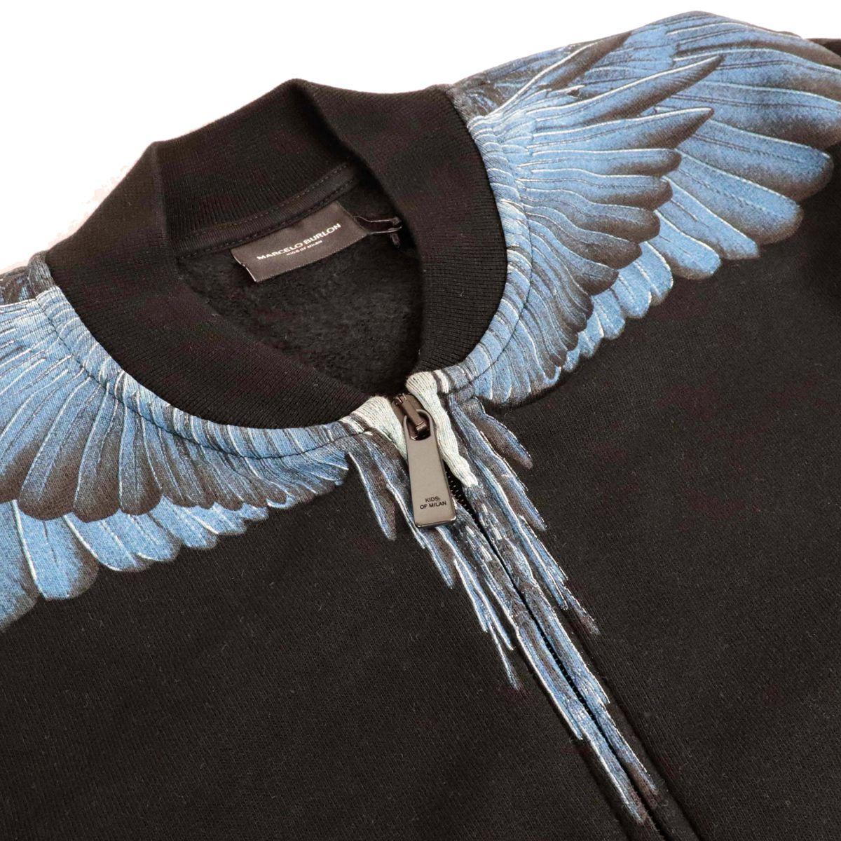 Felpa full zip blue wings Nero MARCELO BURLON