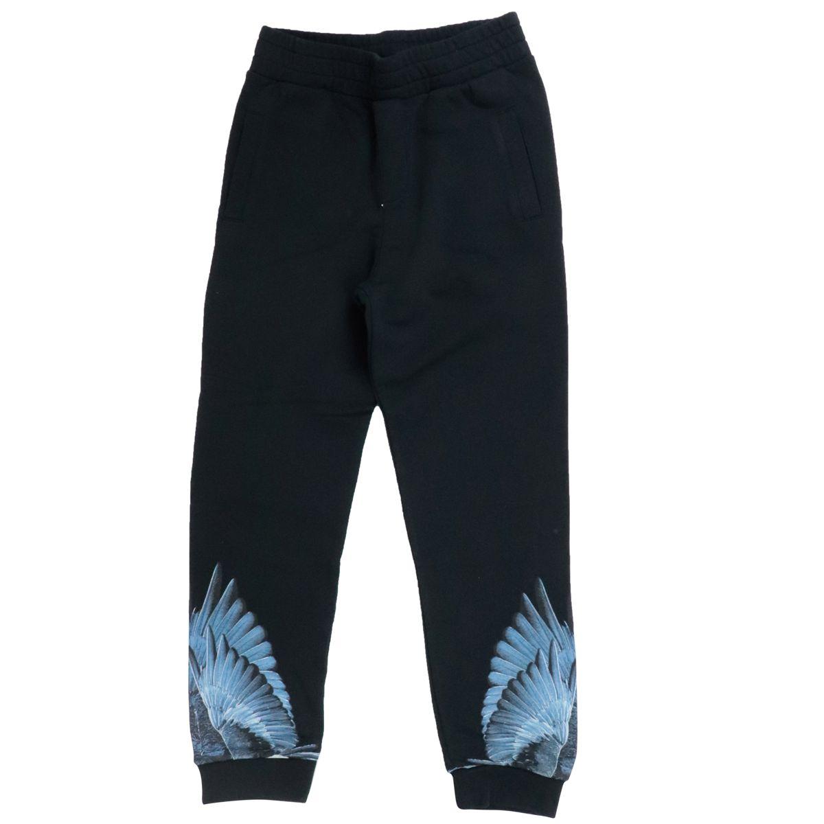 Pantalone sportivo in misto cotone con stampa ali blu Nero MARCELO BURLON
