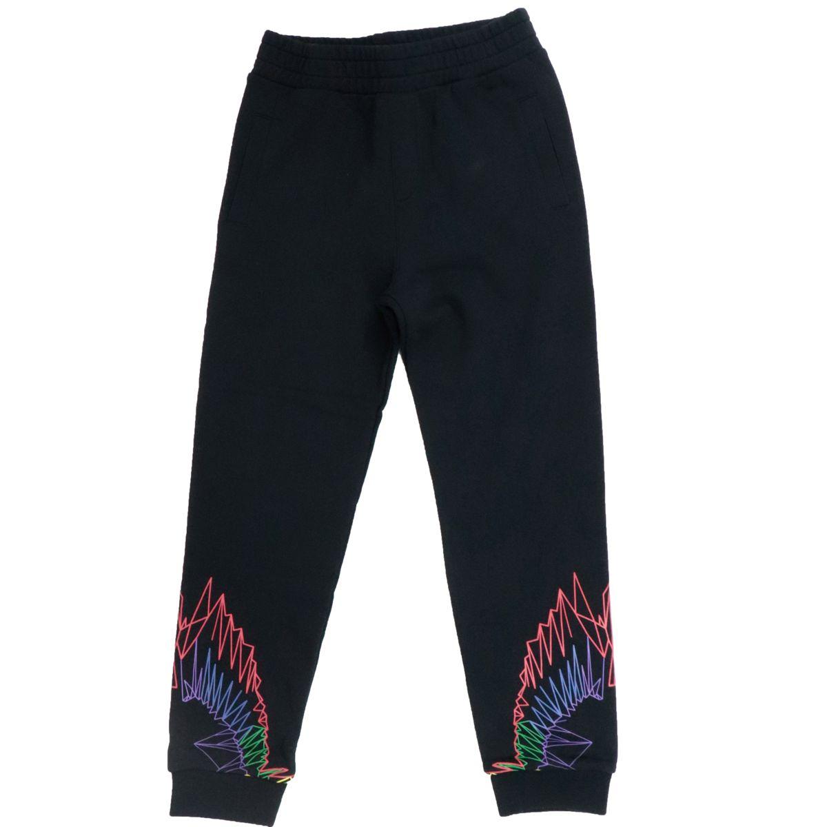 Pantalone sportivo in misto cotone con stampa fluo Nero MARCELO BURLON