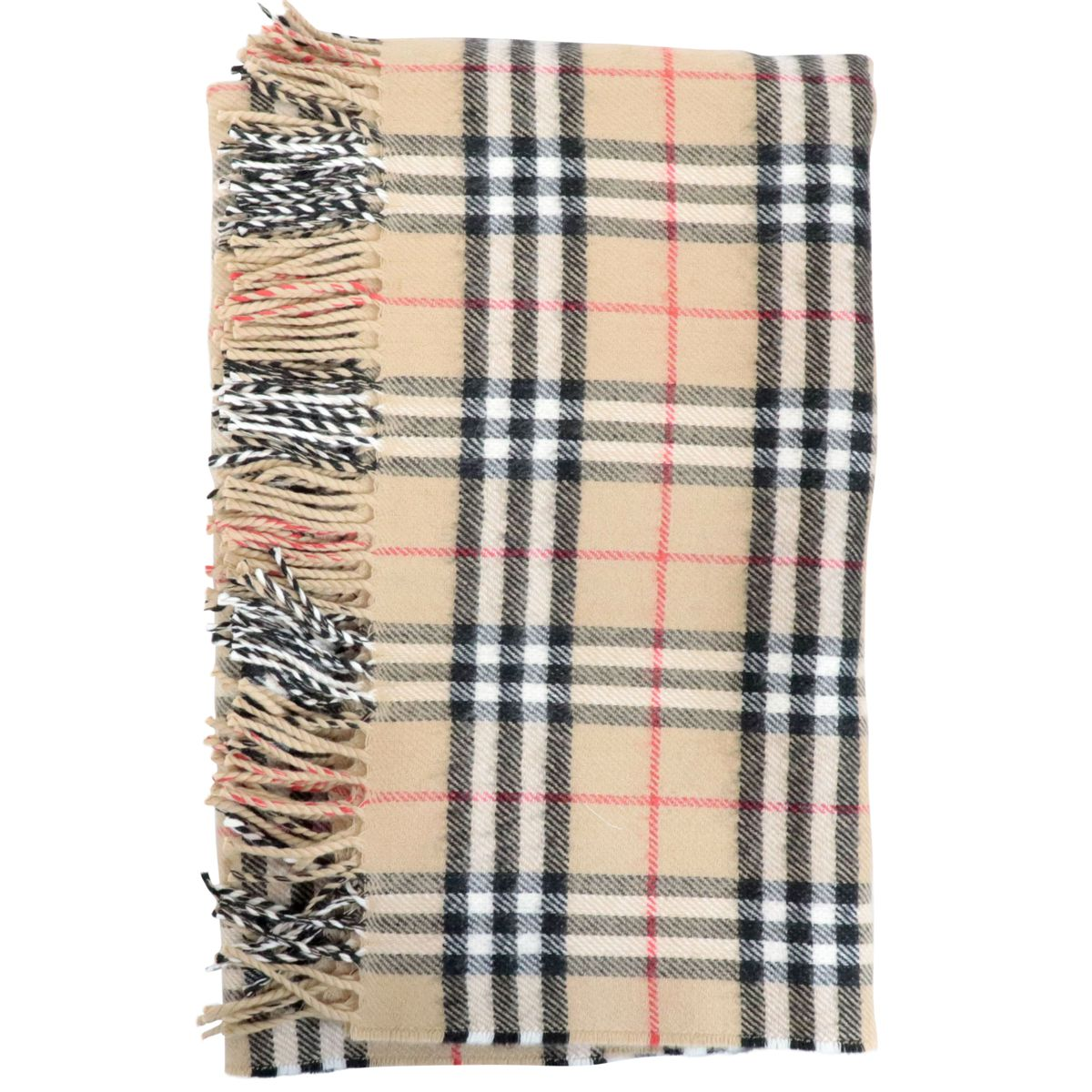 Wool cover with check pattern fringes Beige check Burberry