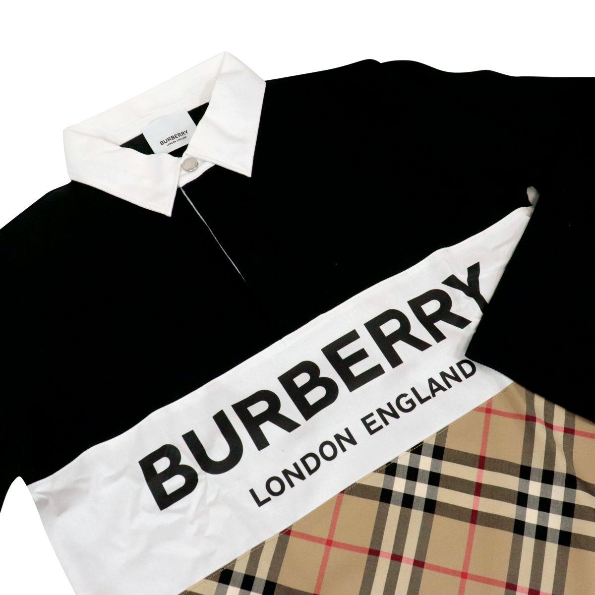 Polo in cotone Quentin con dettagli check Nero Burberry