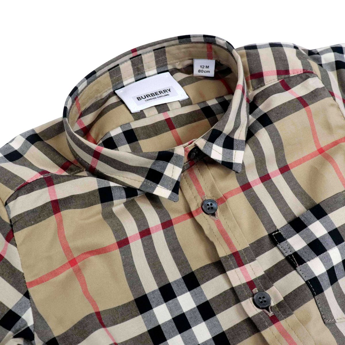 Fredrick Mini cotton shirt with check pattern Beige check Burberry