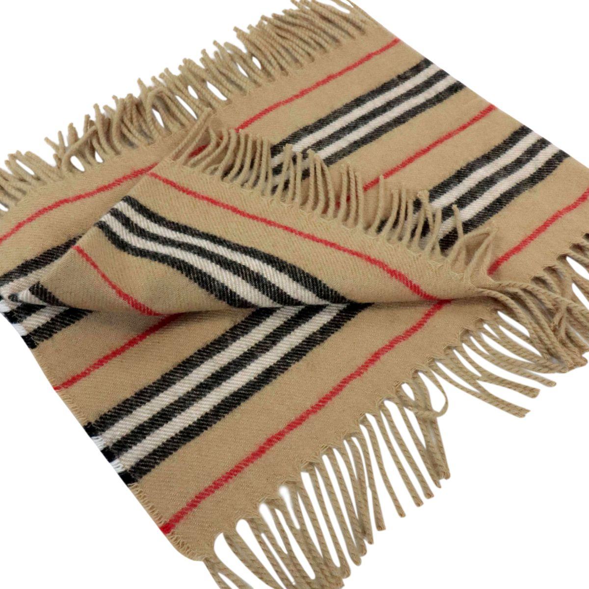 Sciarpa con frange in lana mohair con stampa check Check beige Burberry