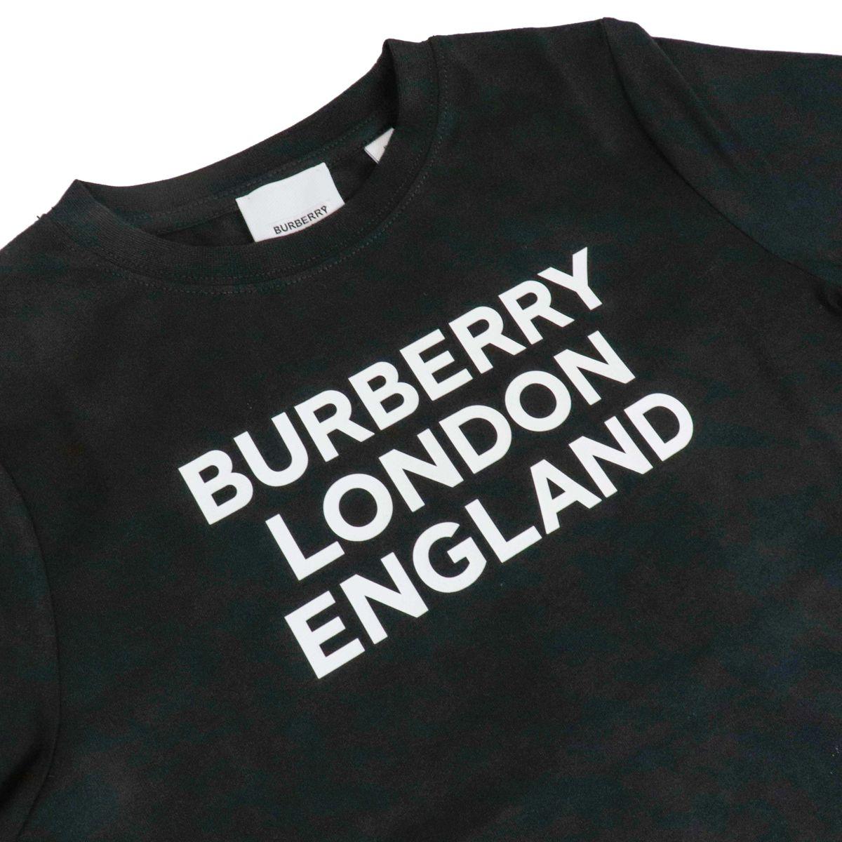 T-shirt girocollo in cotone con stampa logo Nero Burberry
