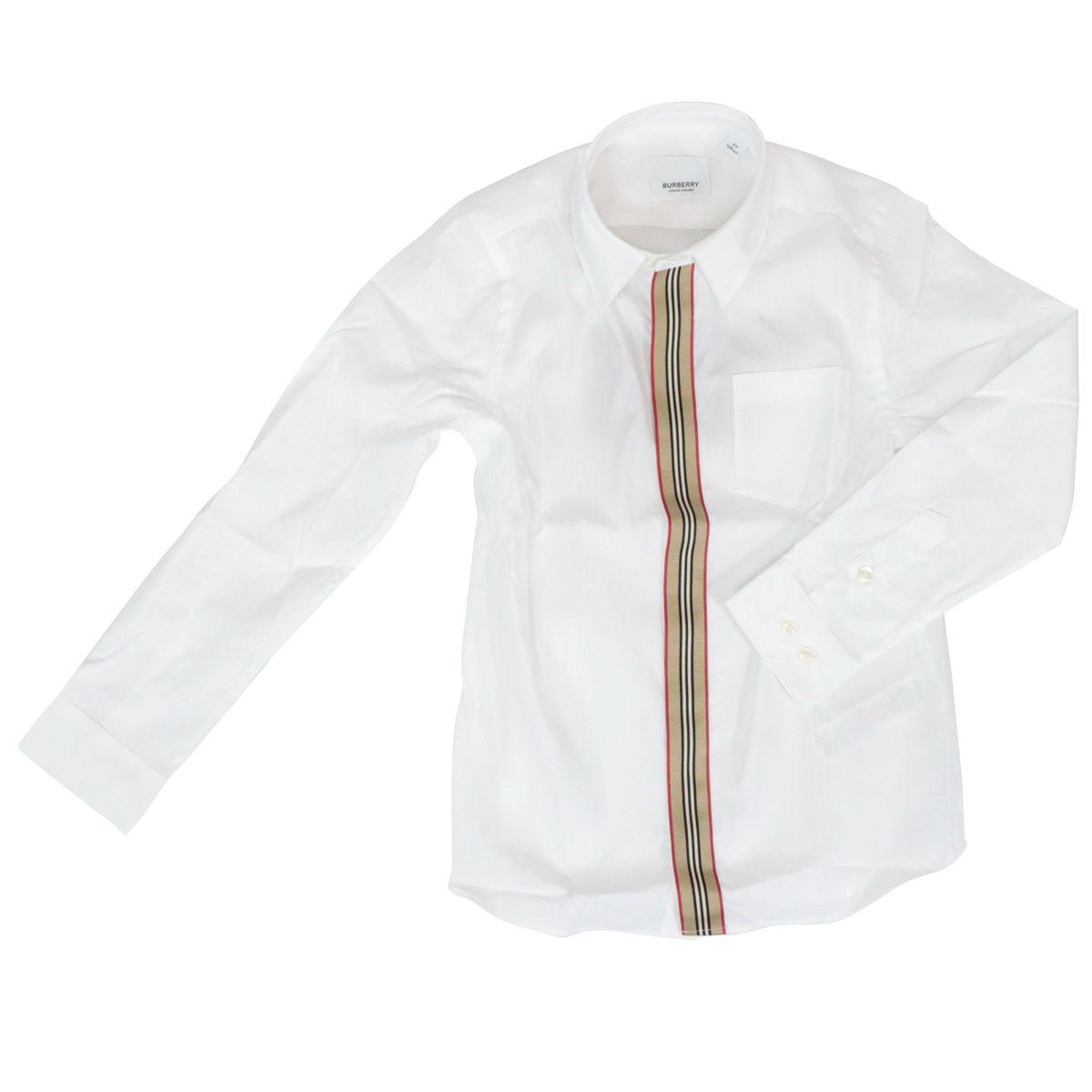 Camicia in cotone Silverton con fascia check Bianco Burberry