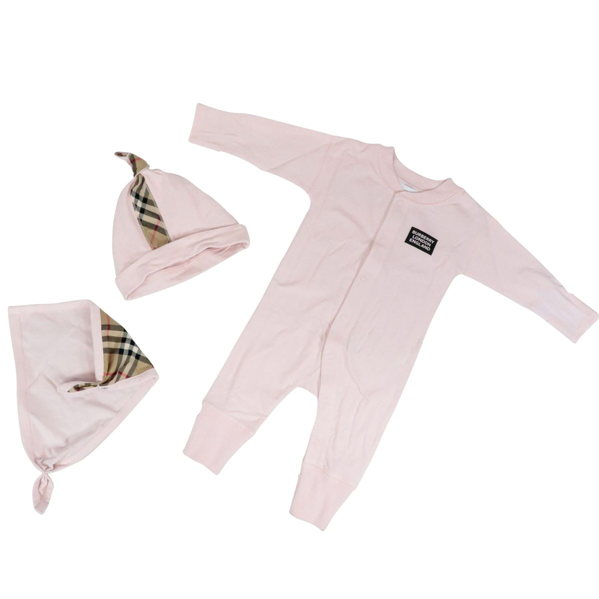 Gift set 3 pieces in organic cotton Pink Burberry