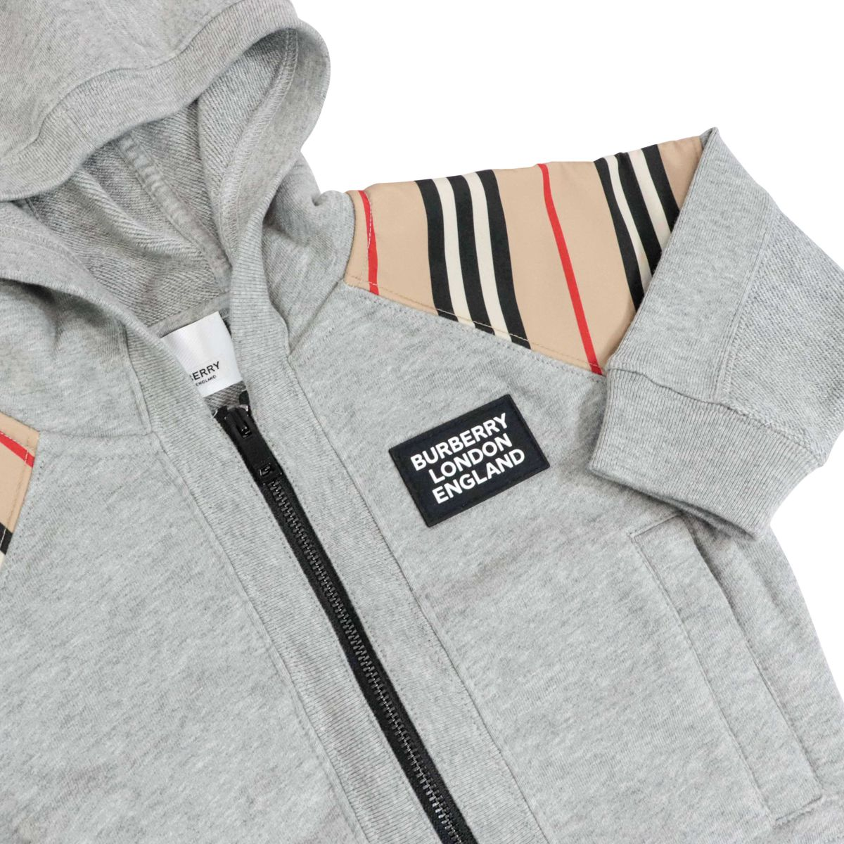 Hamilton cotton hoodie with check details Melange gray Burberry