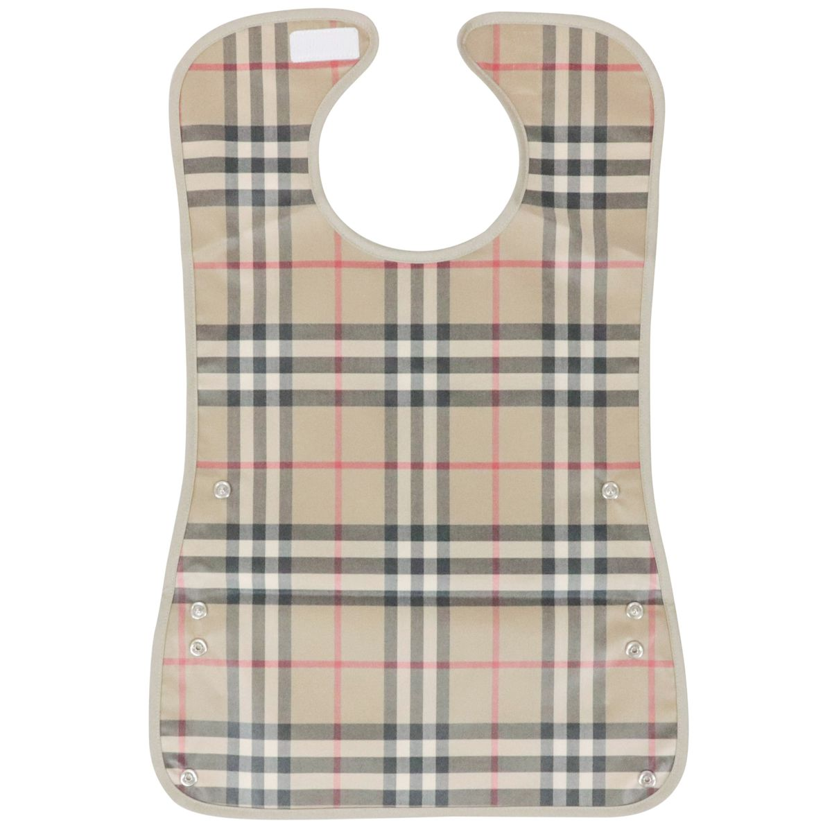 Coated cotton bib with check pattern Beige check Burberry