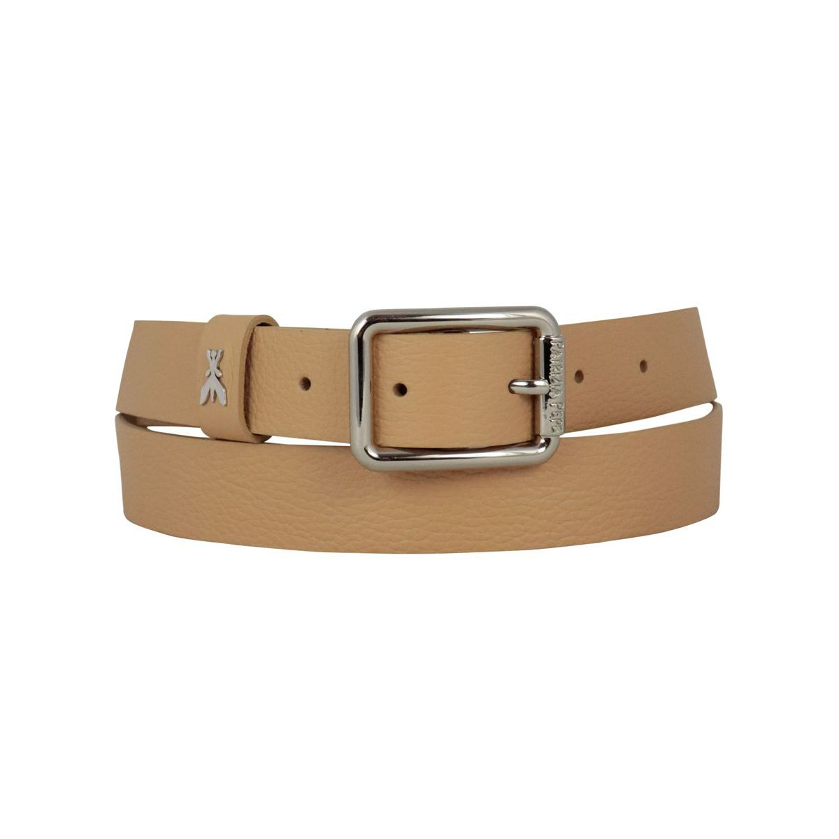 Leather belt with metal buckle and applied logo Beige Patrizia Pepe