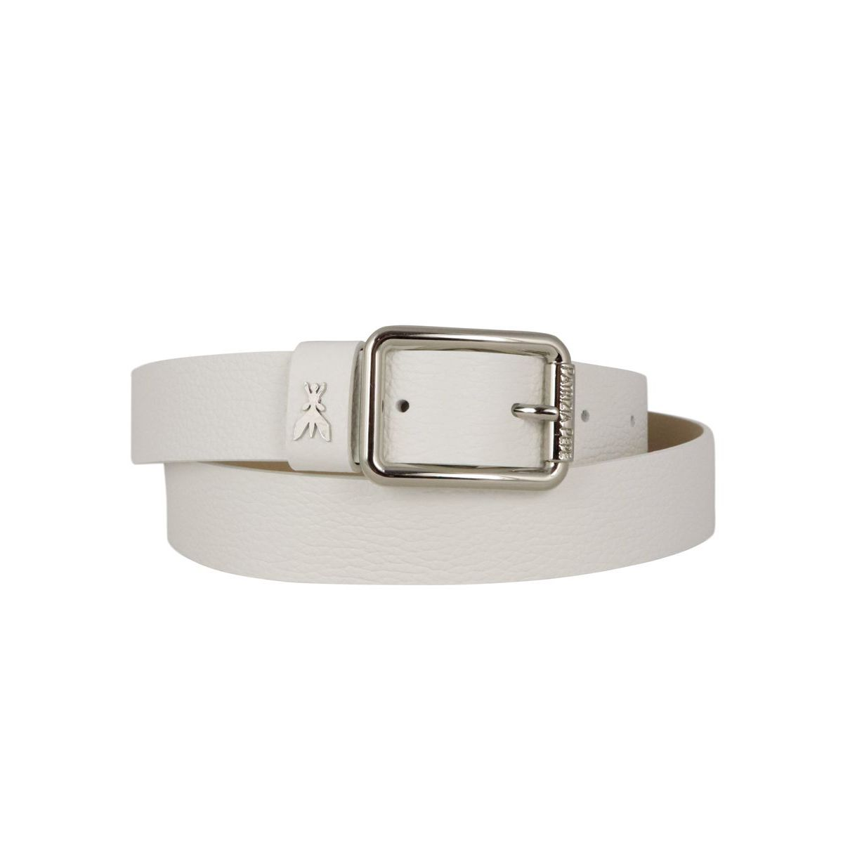 Leather belt with metal buckle and applied logo White Patrizia Pepe