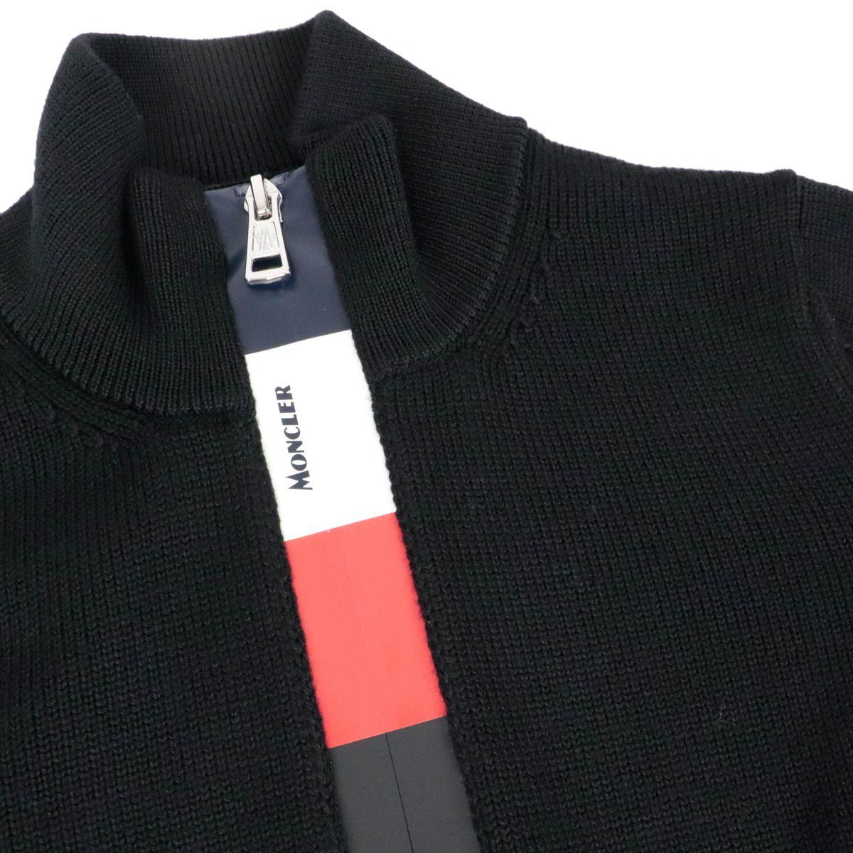 Cardigan in lana tricot full zip Nero Moncler