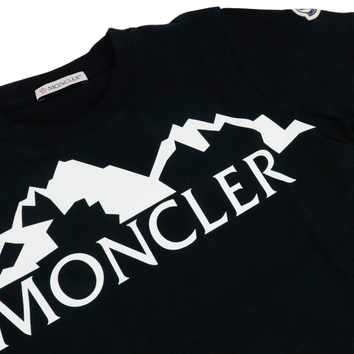 T-shirt in cotone a manica corta con stampa logo Nero Moncler