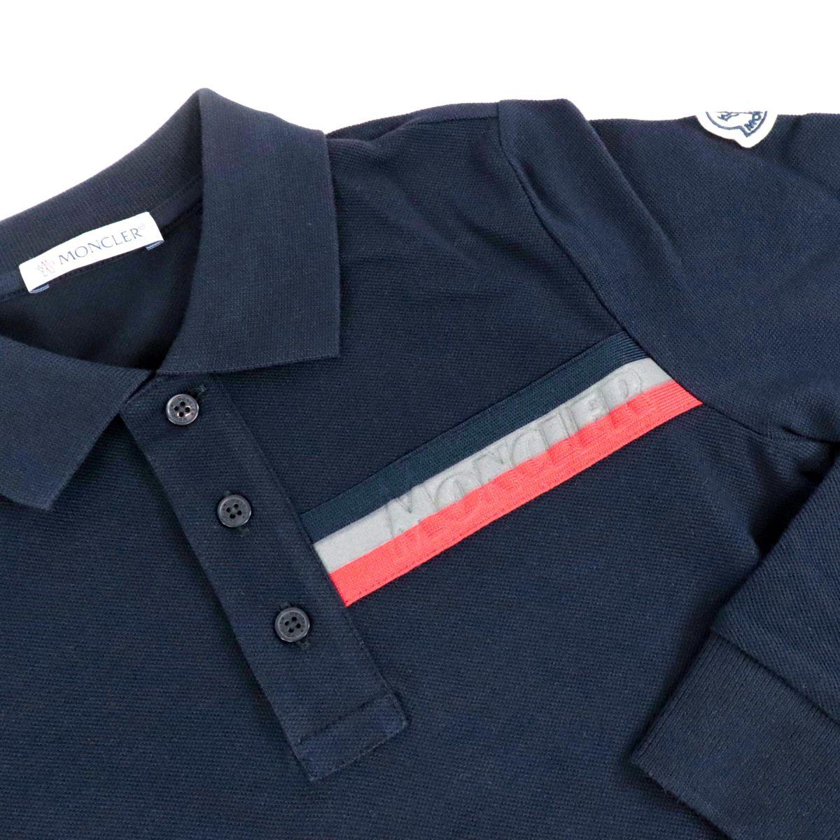 Polo in piquet di cotone con logo sulla manica Blu Moncler