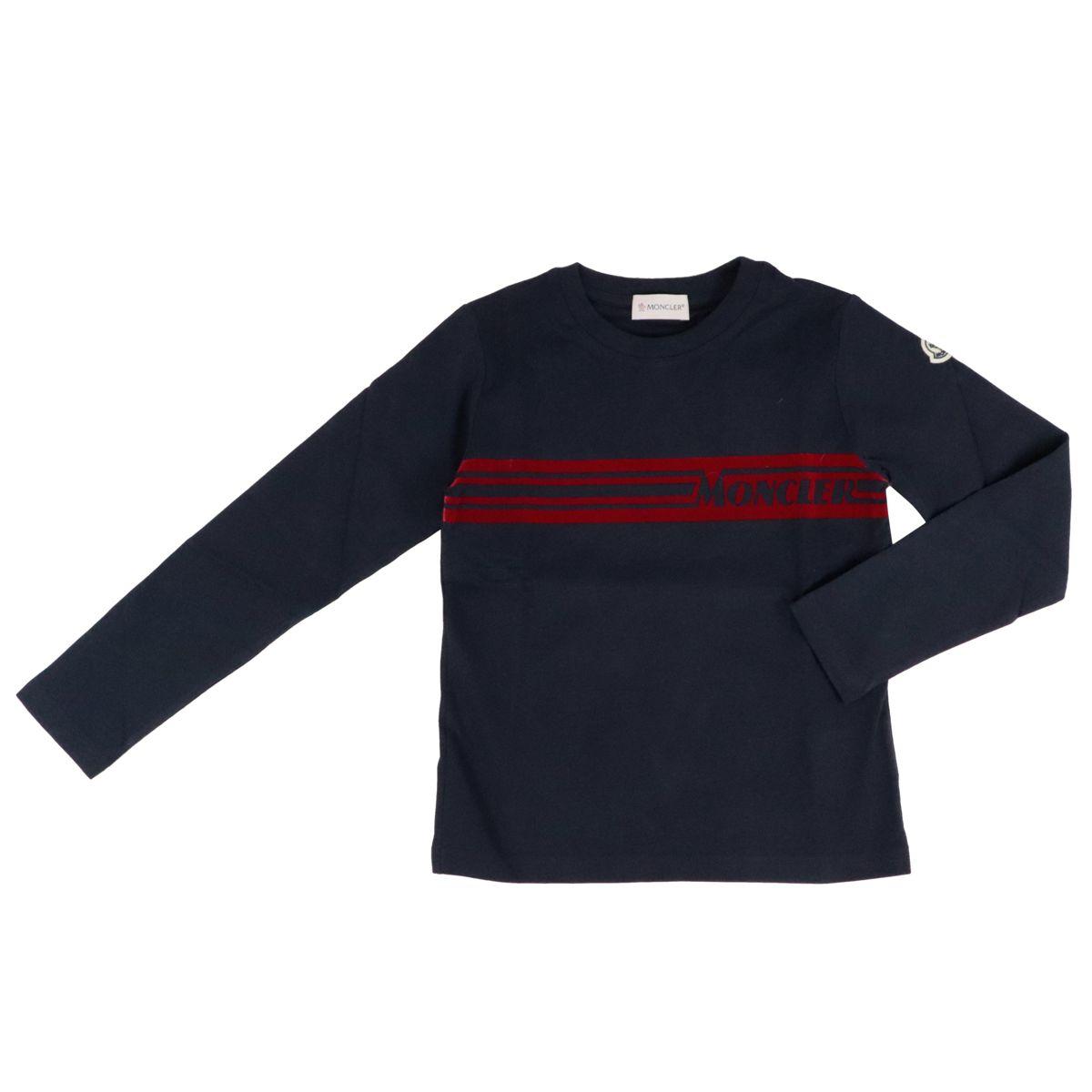 T-shirt manica lunga in cotone con stampa logo Blu Moncler