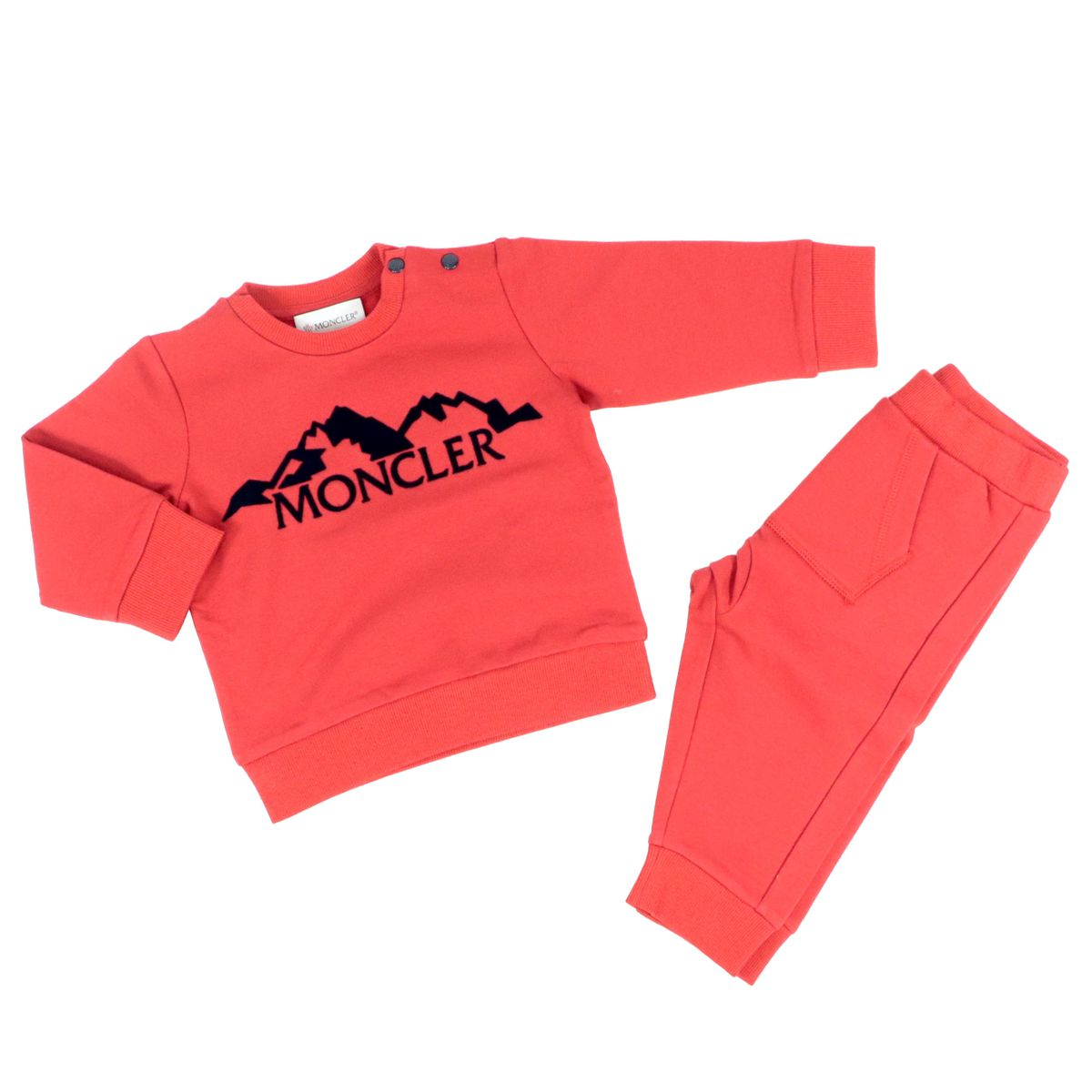 Stretch fleece tracksuit with logo and flocked design Red Moncler