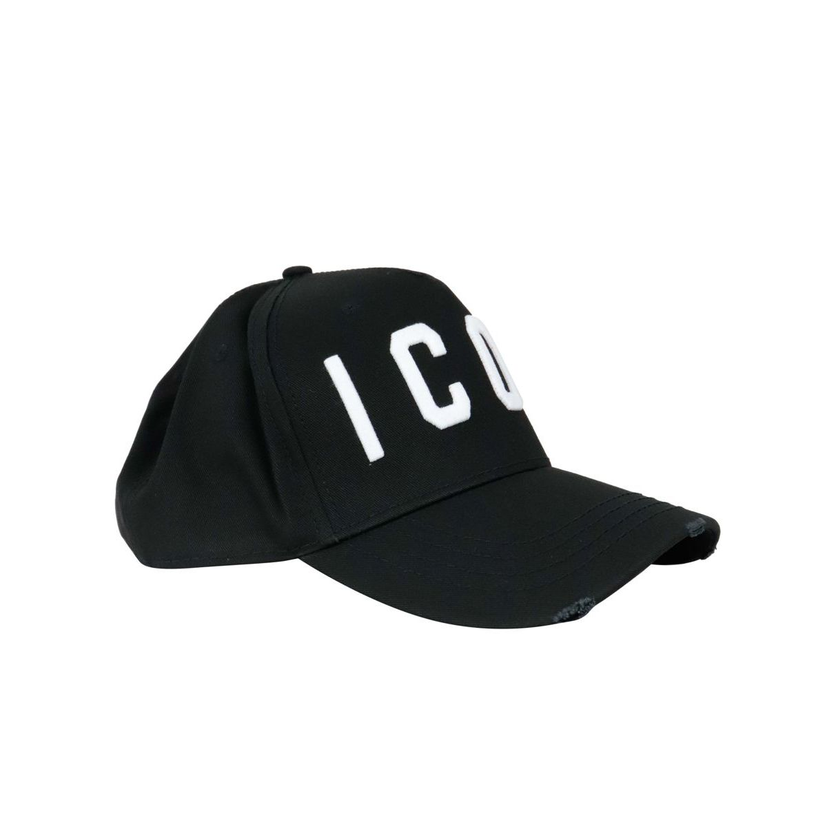 Cotton visor hat with embroidered logo Black Dsquared2
