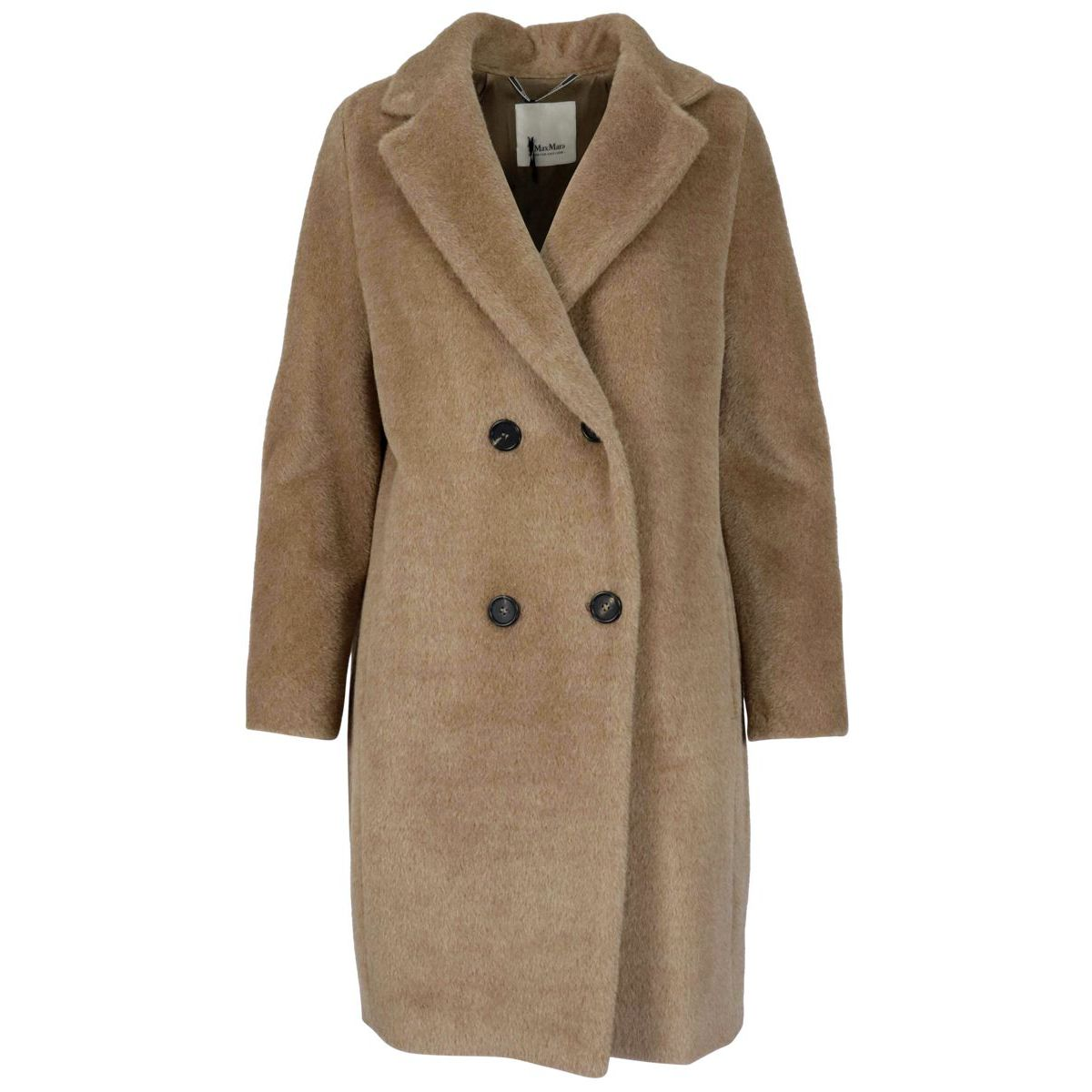 Locri double-breasted coat in alpaca and wool Camel S MAX MARA