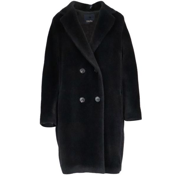 Locri double-breasted coat in alpaca and wool Black S MAX MARA