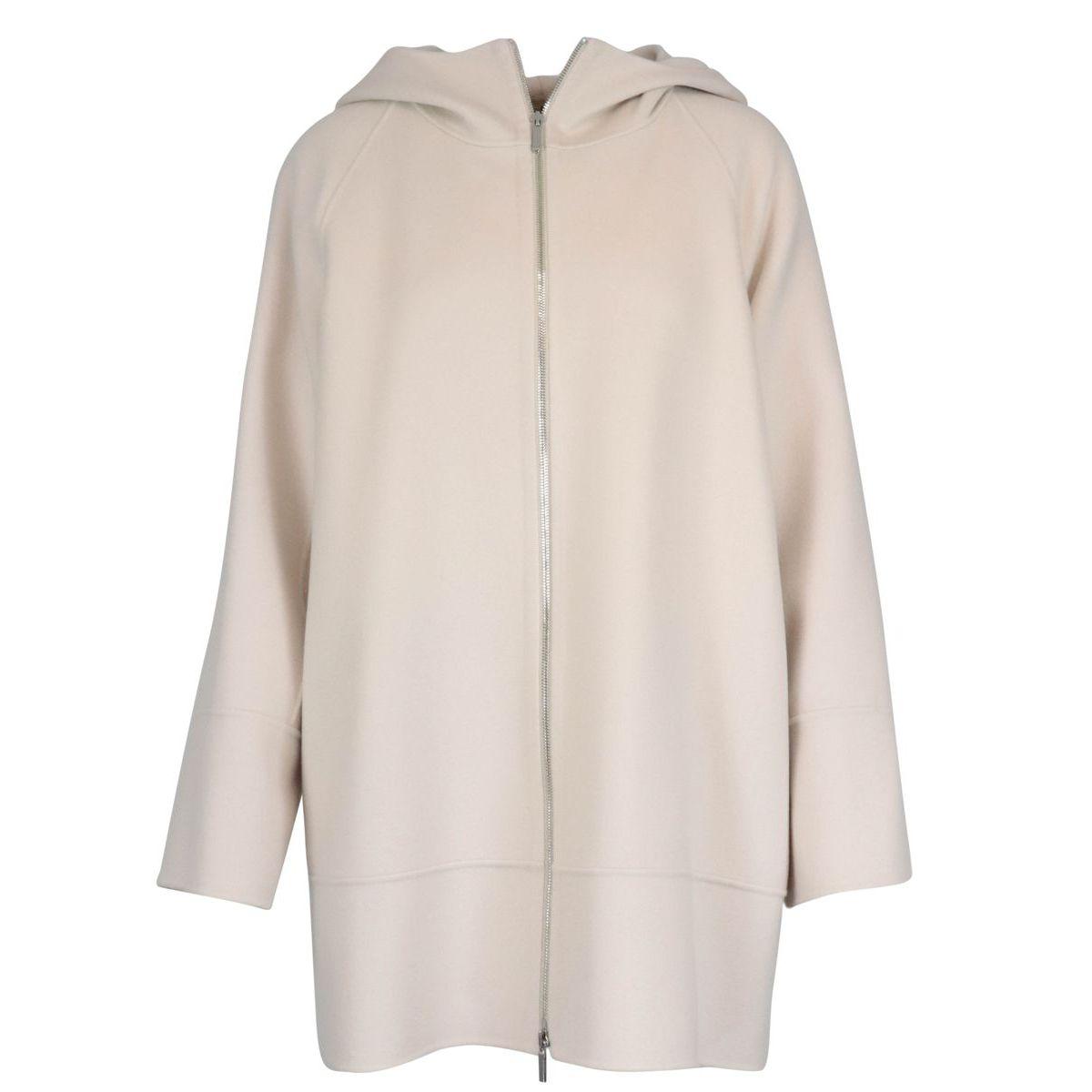 Mozart coat in virgin wool with hood White S MAX MARA