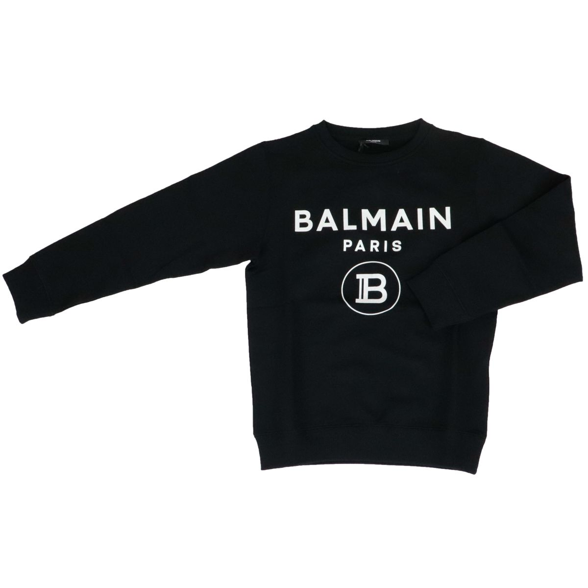 Cotton crewneck sweatshirt with logo print Black BALMAIN