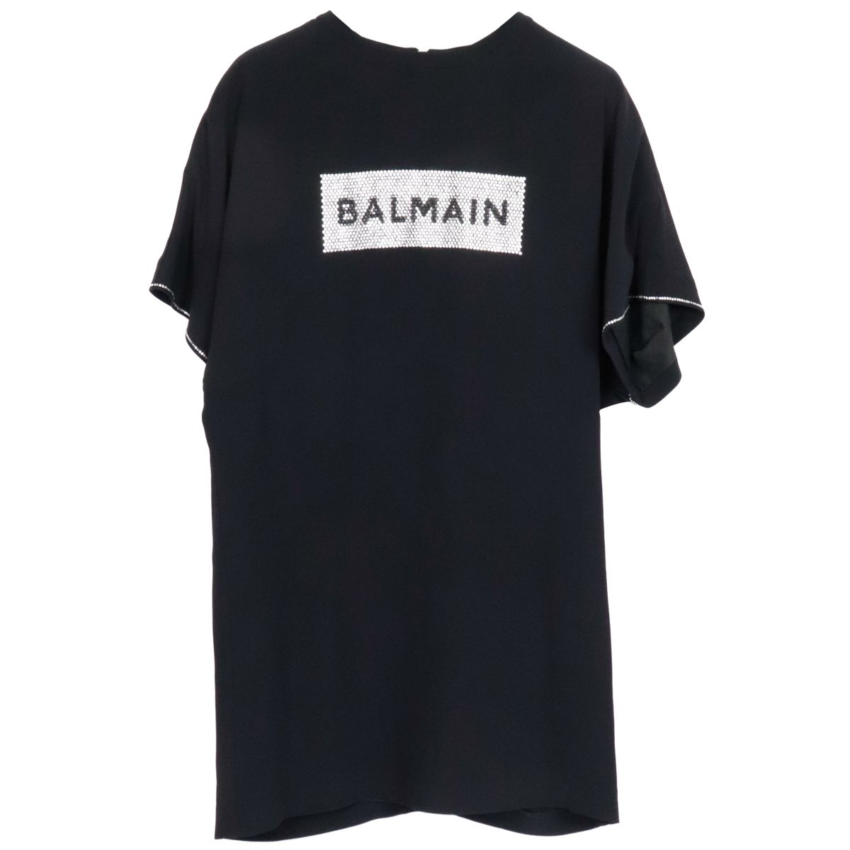 Cotton blend dress with rhinestone applications Black BALMAIN