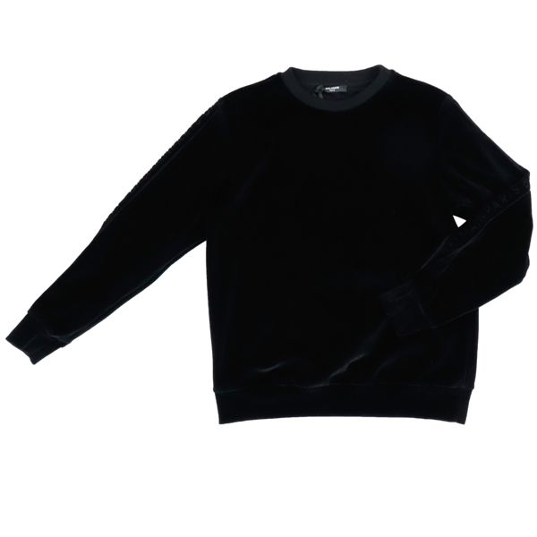 Chenille sweatshirt with logoed bands on the sleeves Black BALMAIN
