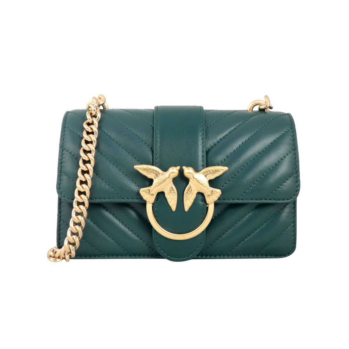 Love Mini bag in quilted leather Green Pinko