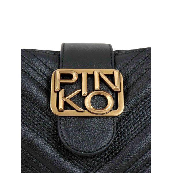 Bucket bag in chevron leather Black Pinko