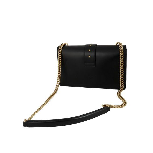 Love Classic Simply leather bag with logo buckle Black Pinko