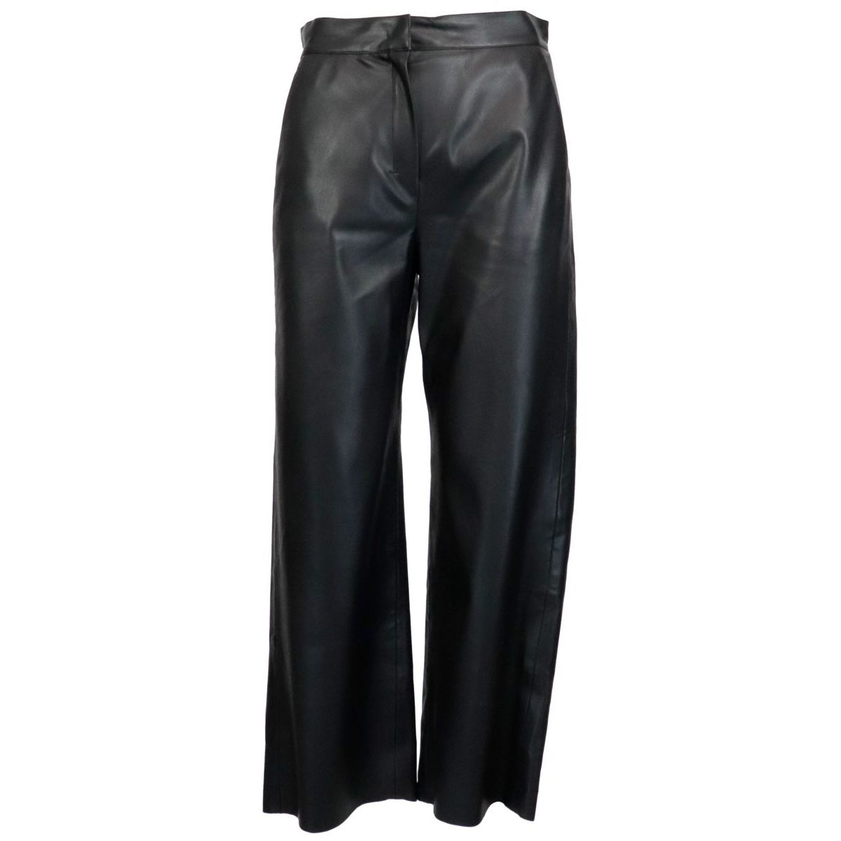 Cantico cropped trousers in synthetic leather Black S MAX MARA