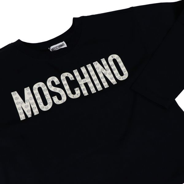 Cropped jersey T-shirt with printed logo and beads Black Moschino