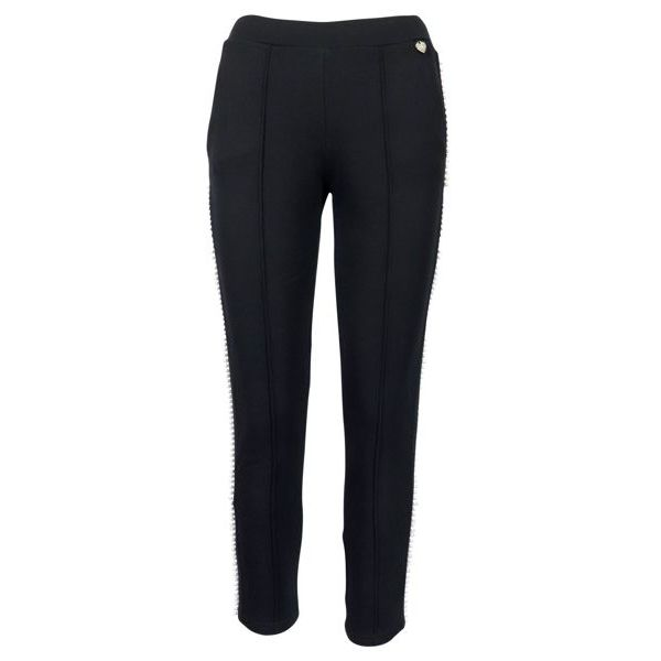 Cotton trousers with pearl application Black Twin-Set