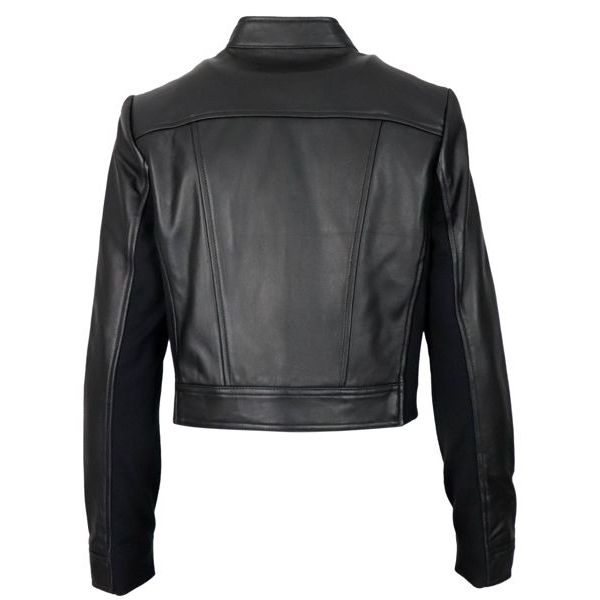 Short leather jacket with stretch inserts Black Michael Kors