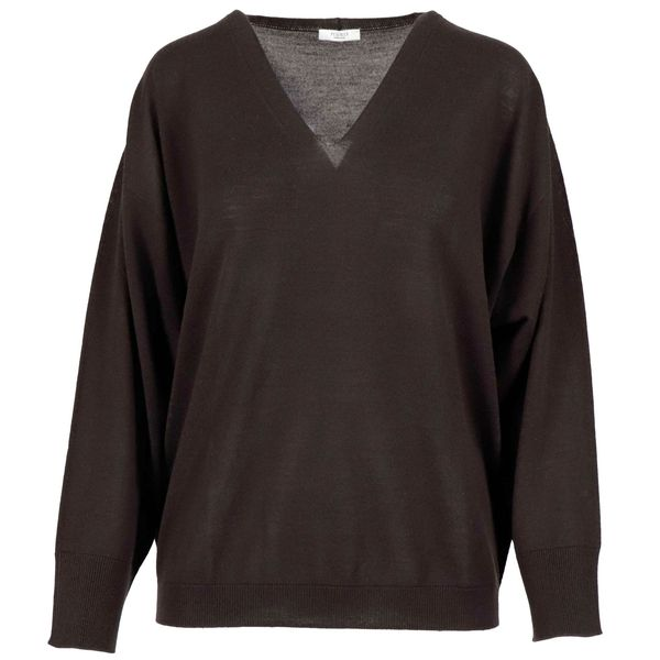 V-neck sweater in virgin wool Brown PESERICO