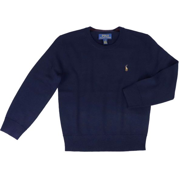 Crewneck sweater in wool with embroidered logo Blue Polo Ralph Lauren