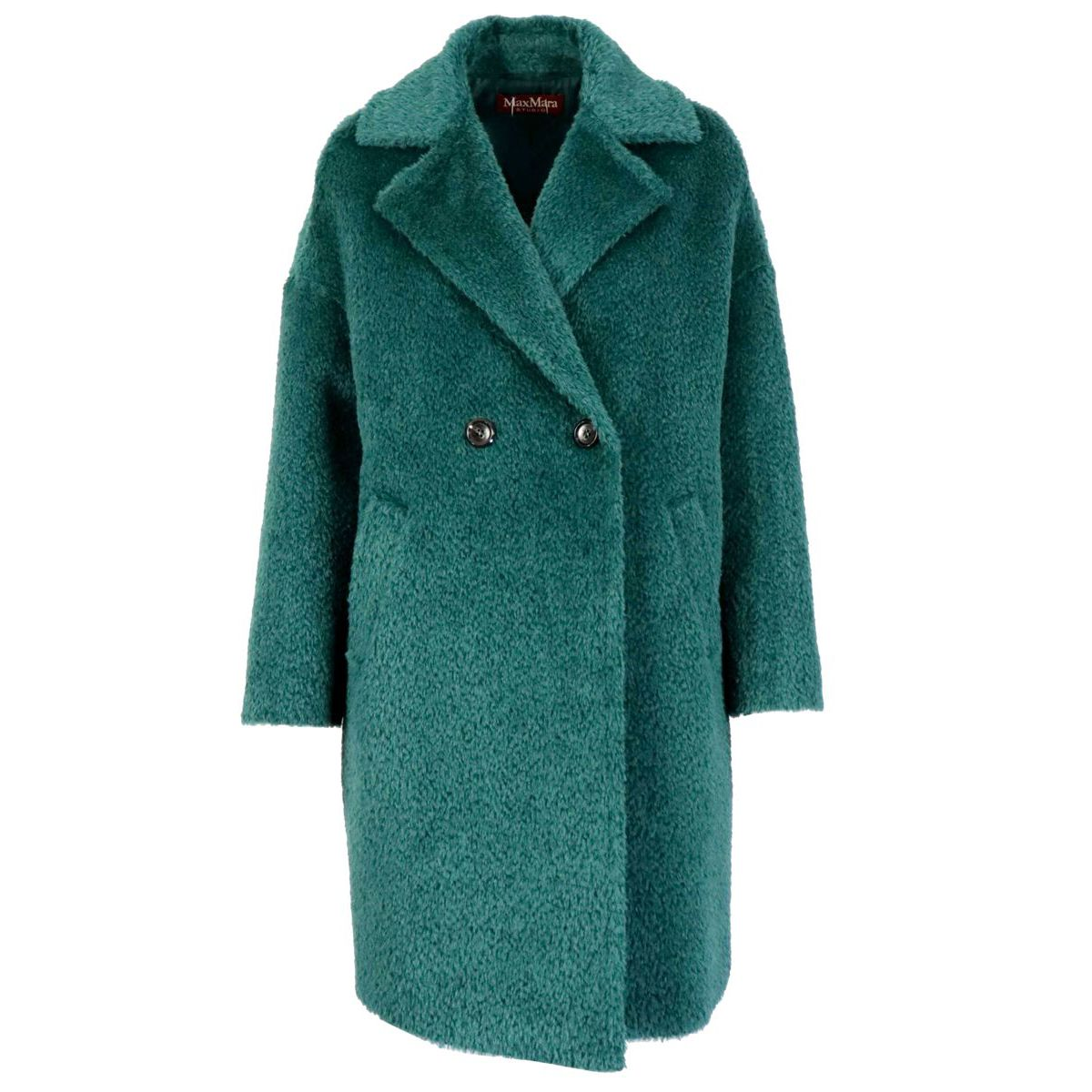 Jums double-breasted coat in alpaca and wool Pine green MAX MARA STUDIO
