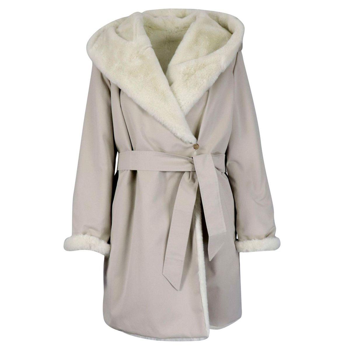 Felice jacket with hood and internal faux fur Cream MAX MARA STUDIO