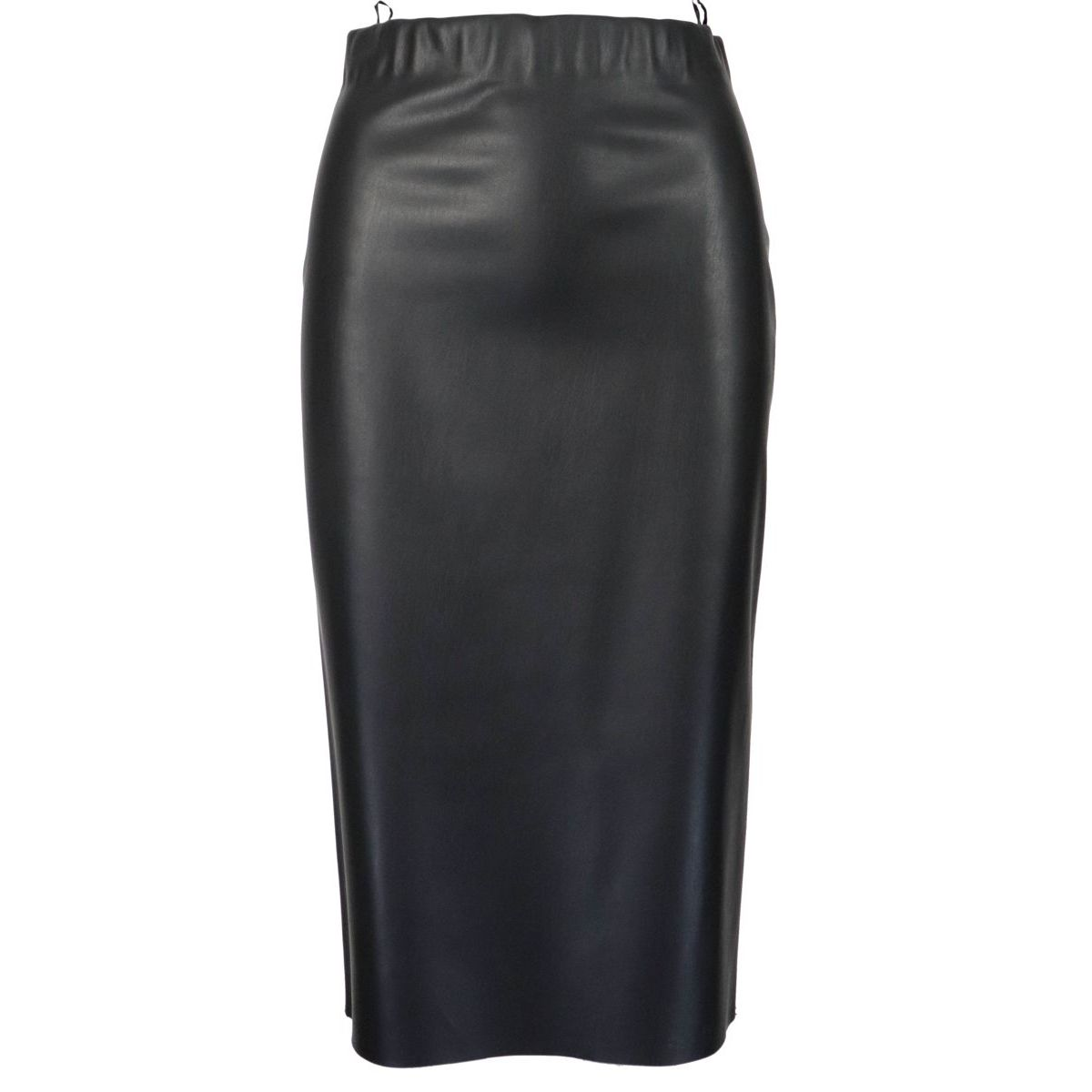 Frog pencil skirt in synthetic leather Black S MAX MARA