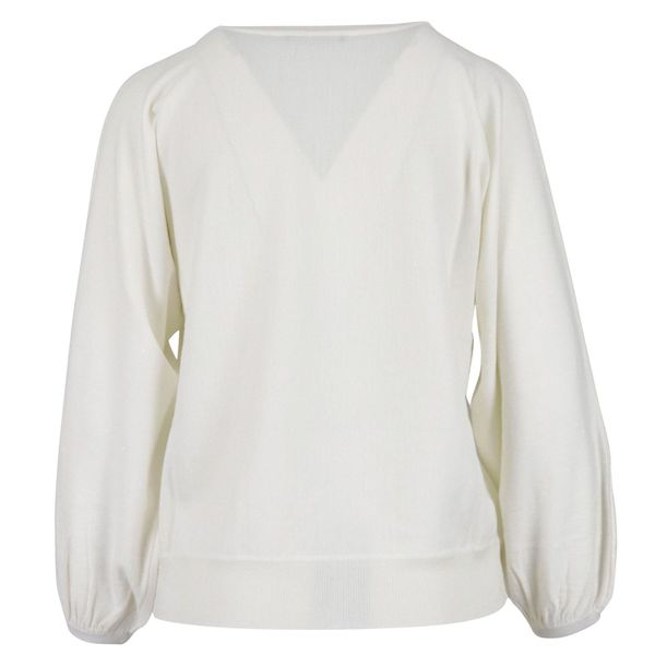 V-neck wool sweater with micro sequins White Alpha Studio