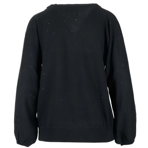 V-neck wool sweater with micro sequins Black Alpha Studio