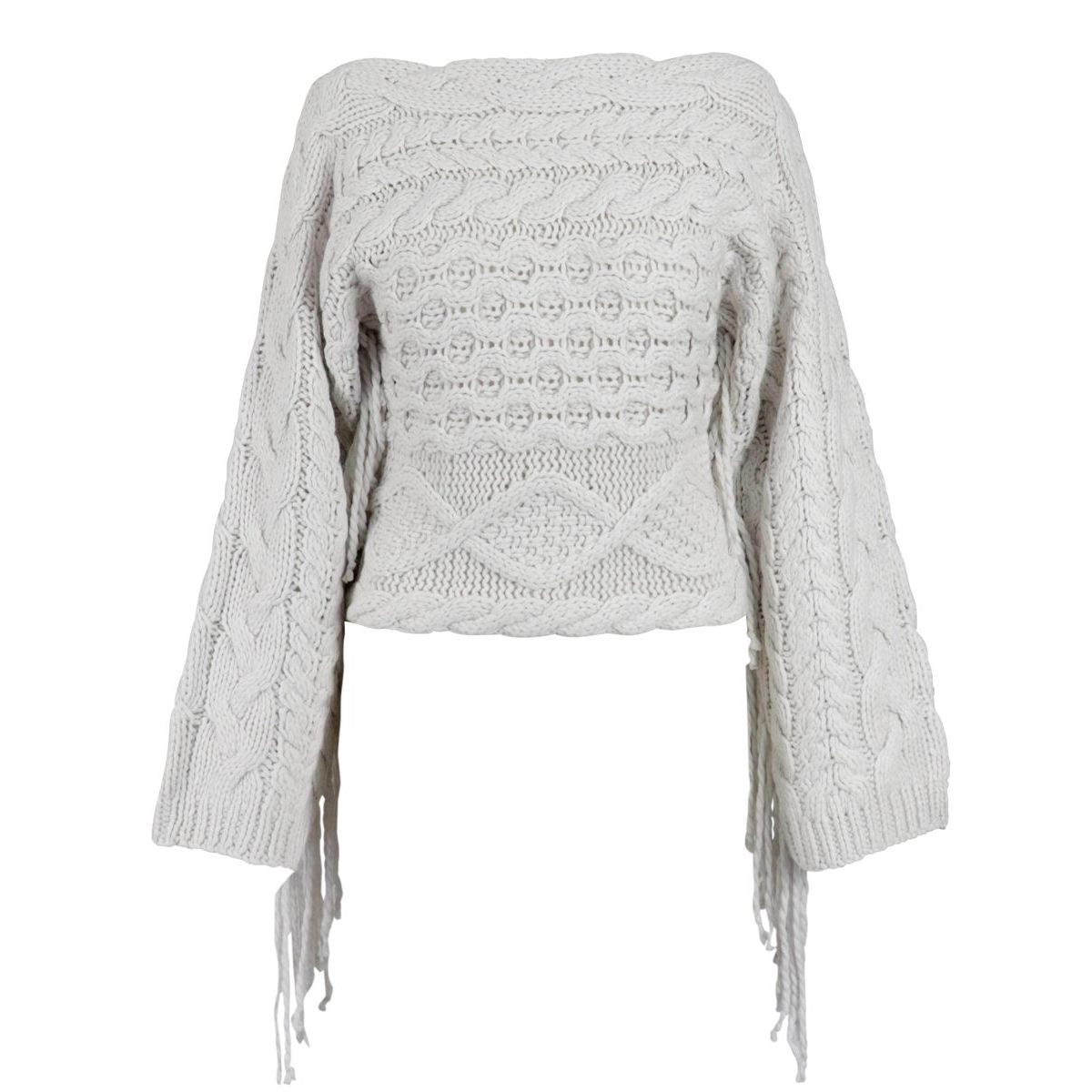 Cashmere blend sweater with even neckline with fringes White Alpha Studio
