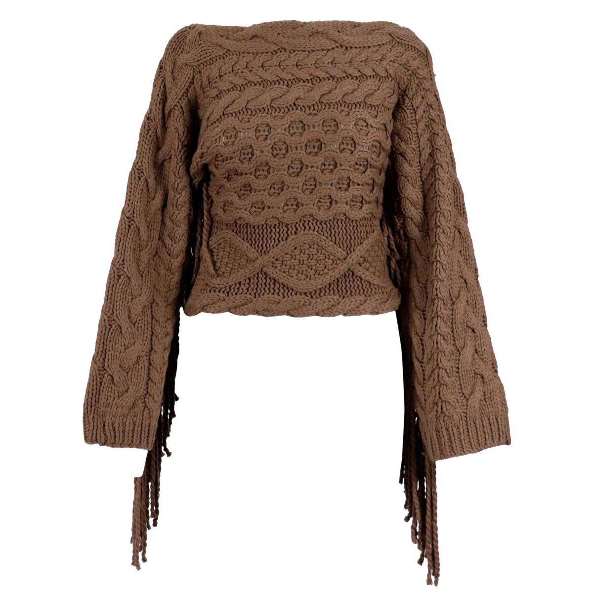 Cashmere blend sweater with even neckline with fringes Chestnut Alpha Studio