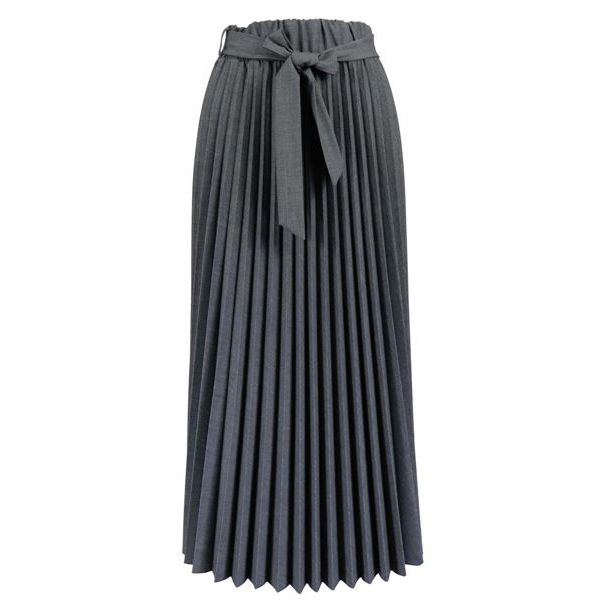 Long pleated viscose blend skirt with bow belt Medium gray Alpha Studio