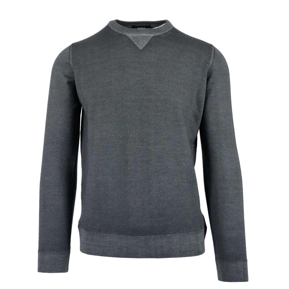 Sweatshirt in washed mohair wool Asphalt Alpha Studio