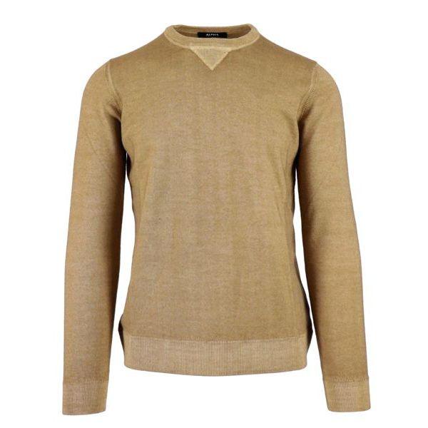 Sweatshirt in washed mohair wool Camel Alpha Studio
